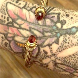 Cable Style Bracelet w/ Garnet & 14k Gold Accents